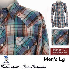 Red Ranch Mens L Western Shirt Snap Up Plaid Blue